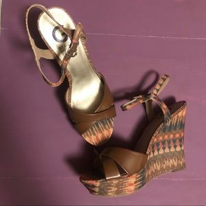 G by Guess Wedge Sandal, Sz 10